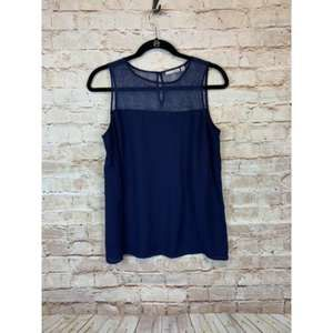 Halogen tank top blouse M blue sleeveless petite